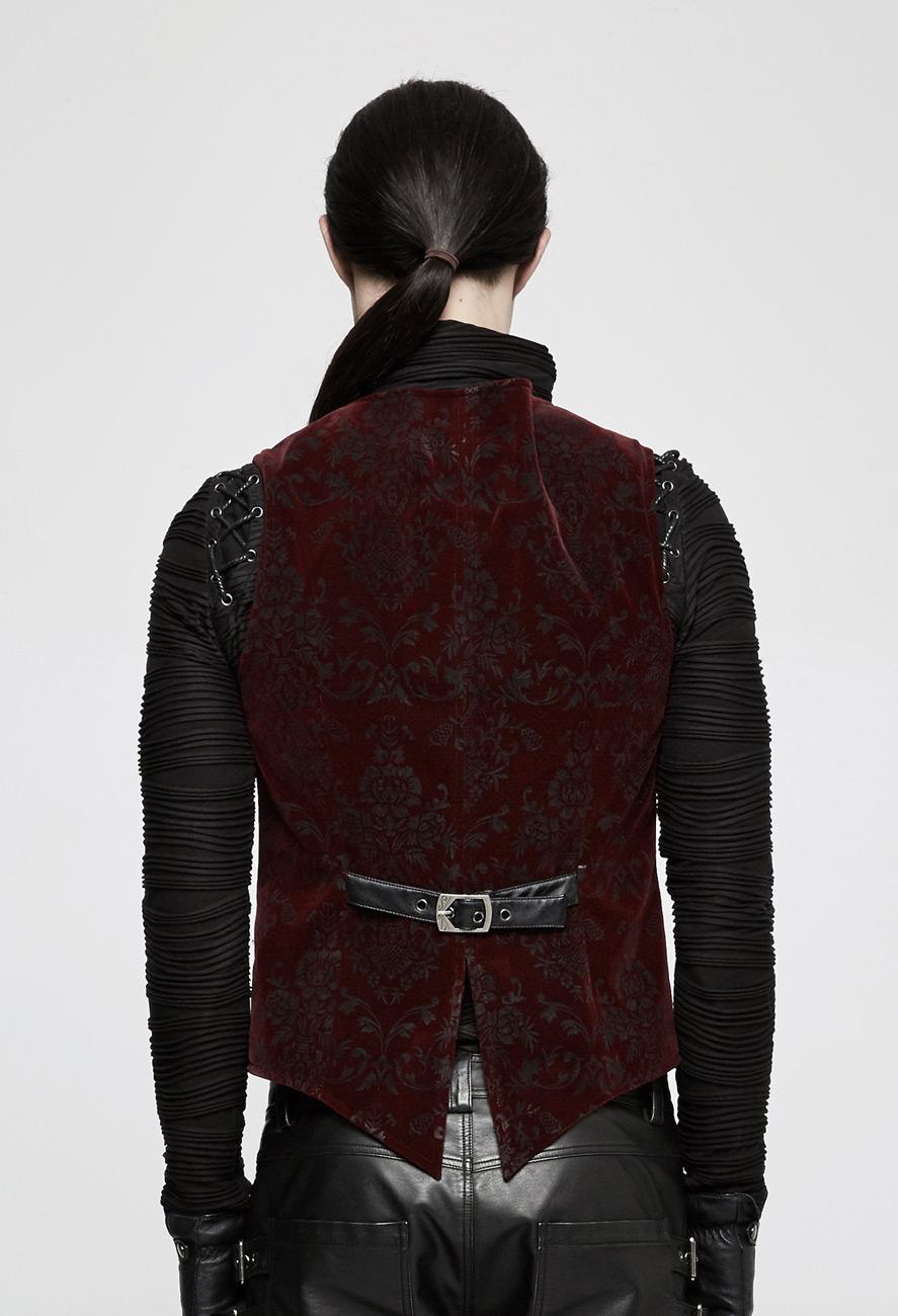 veste homme rouge en velours manche courte et motifs. Black Bedroom Furniture Sets. Home Design Ideas