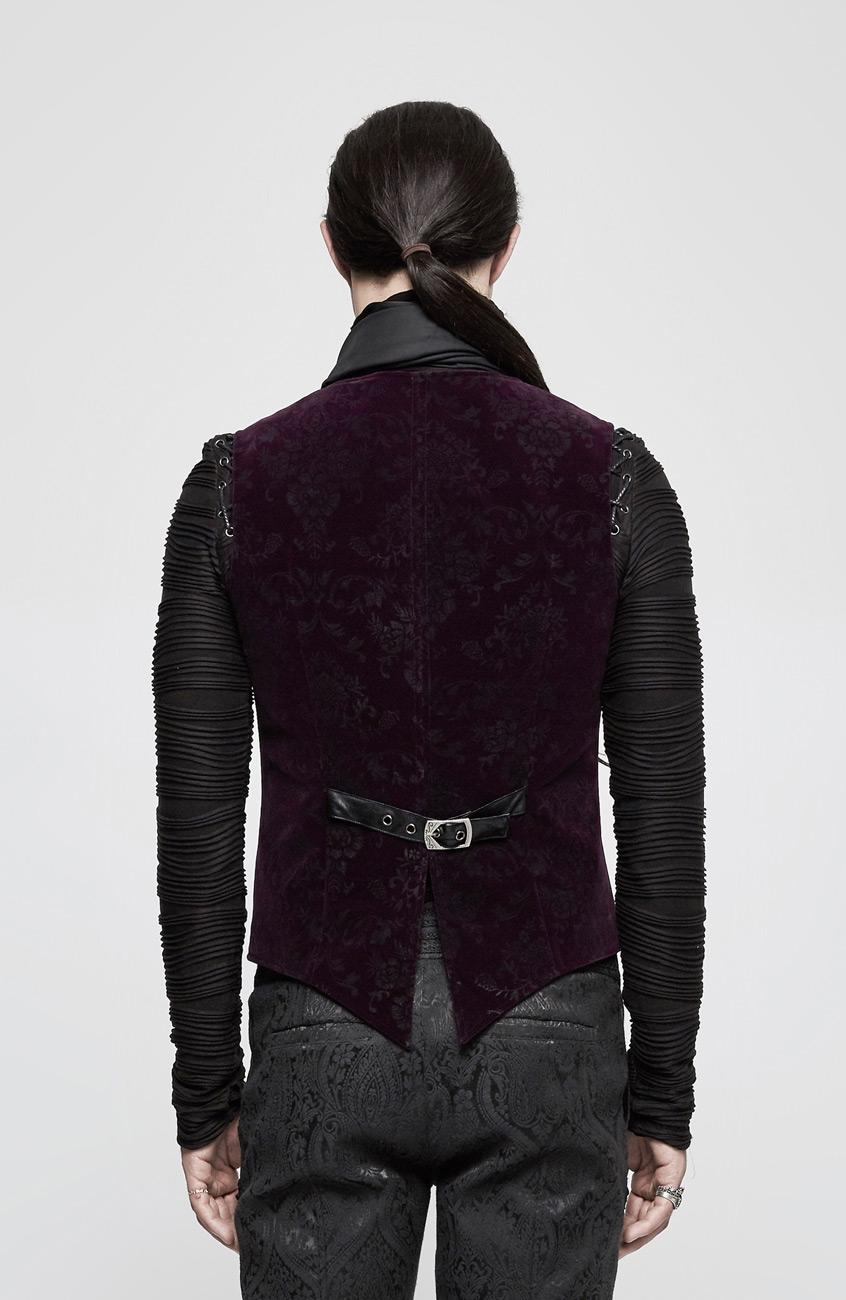 veste homme violet en velours manche courte motifs. Black Bedroom Furniture Sets. Home Design Ideas