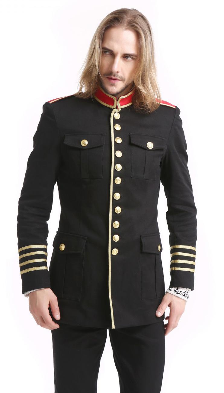 veste militaire homme noire avec boutons et bandes dor s col et paulettes rouges japan. Black Bedroom Furniture Sets. Home Design Ideas