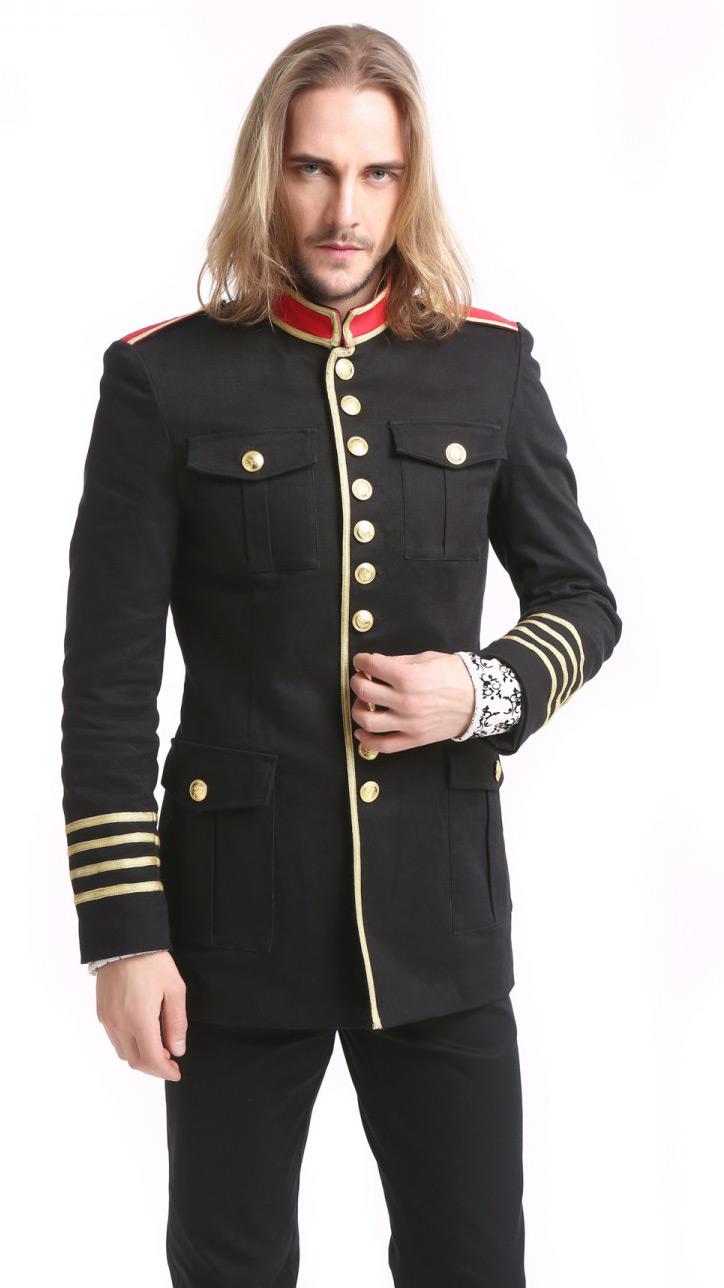 check-out 58bd5 9a714 Veste militaire homme noire avec boutons et bandes dorés, col et épaulettes  rouges Référence : PENTA071