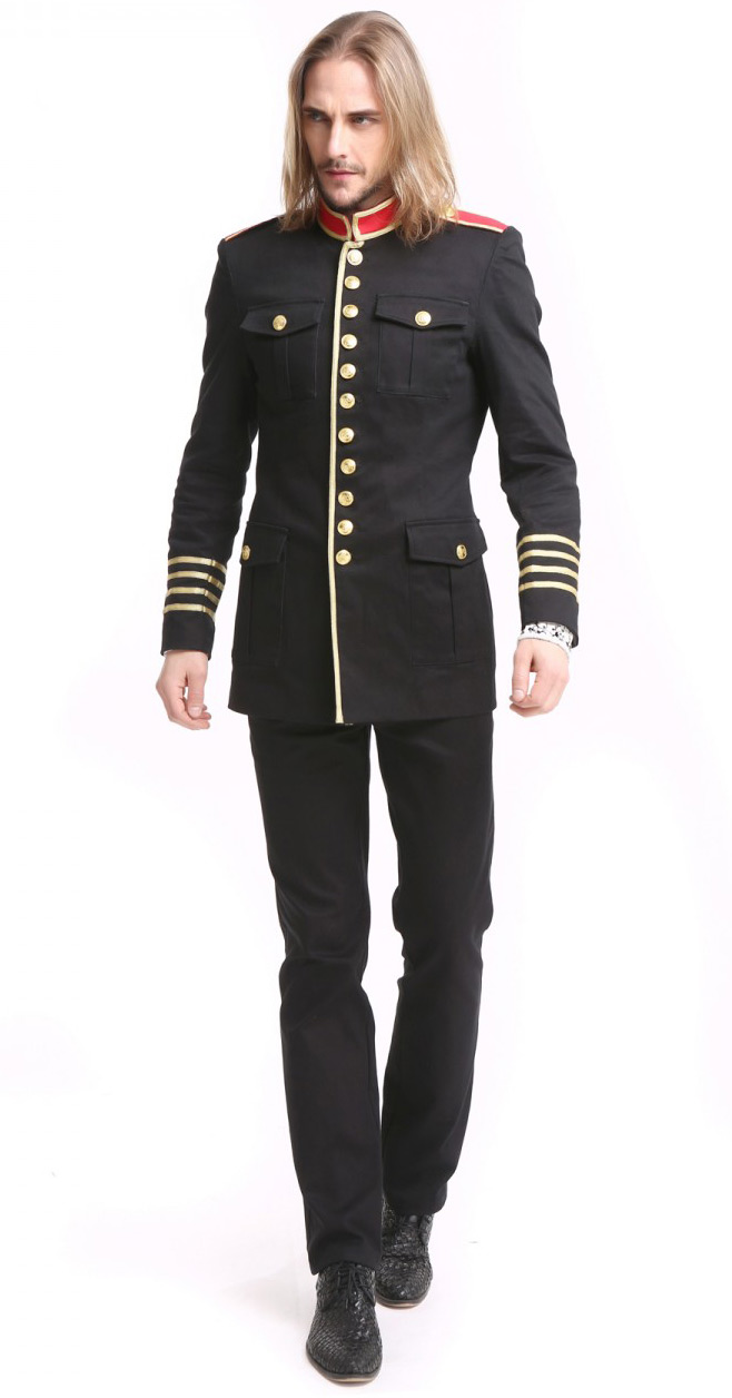 7f1bcd1e3dc Black Military Jacket with Gold Buttons and Strips