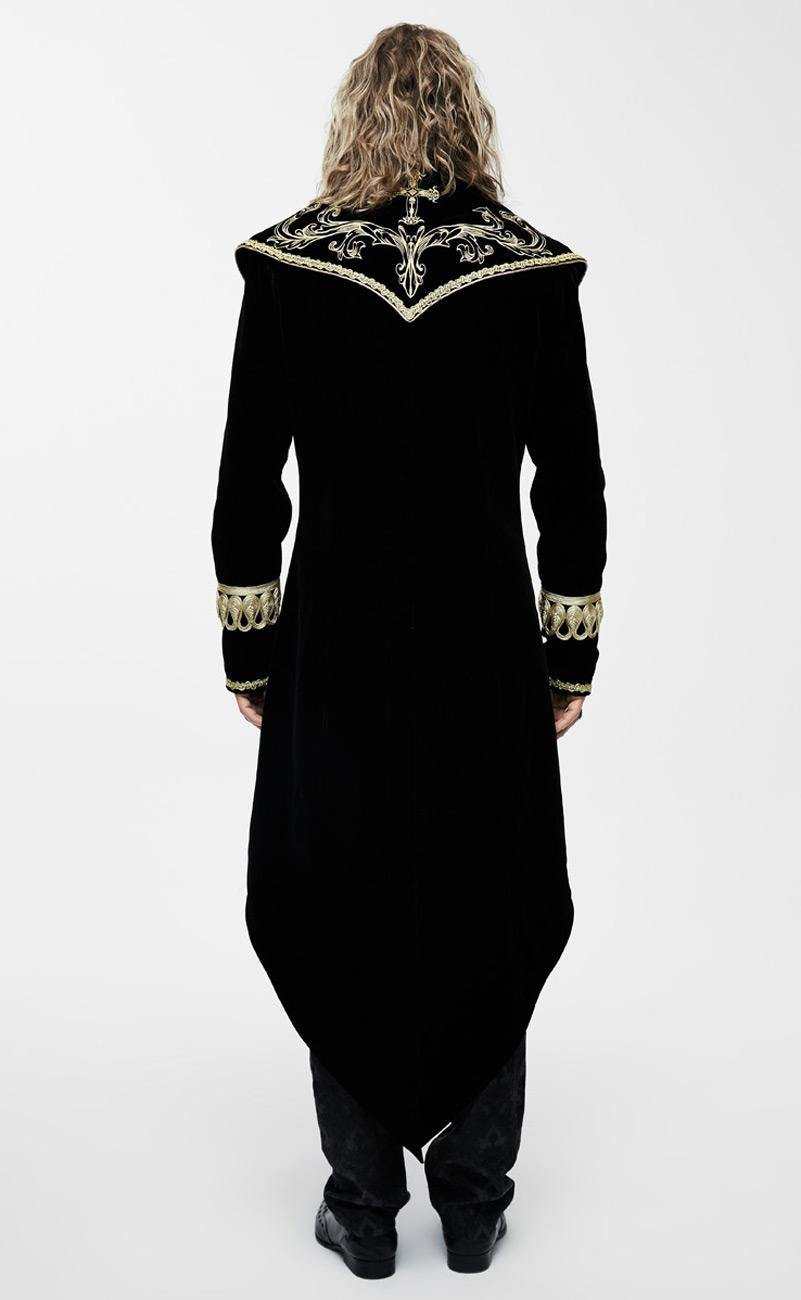 meilleure sélection 73d32 988ff Manteau homme long en velours noir avec broderies et galons dorés, élégant  aristocrate Référence : DEVFA0112