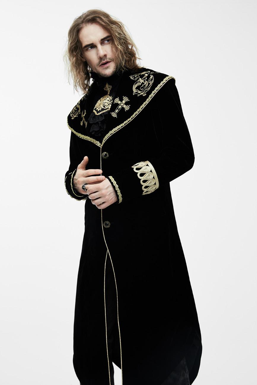 8fe5ba05a16b5 Manteau homme long en velours noir avec broderies et galons dorés, élégant  aristocrate
