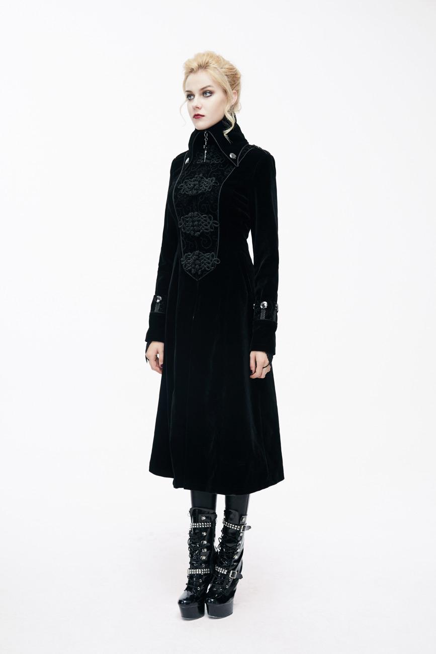 manteau femme long en velours noir avec galons et col. Black Bedroom Furniture Sets. Home Design Ideas