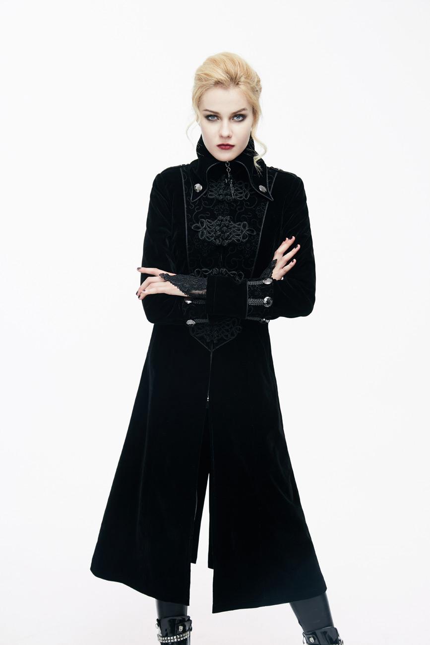 manteau femme long en velours noir avec galons et col montant l gant aristocrate japan. Black Bedroom Furniture Sets. Home Design Ideas