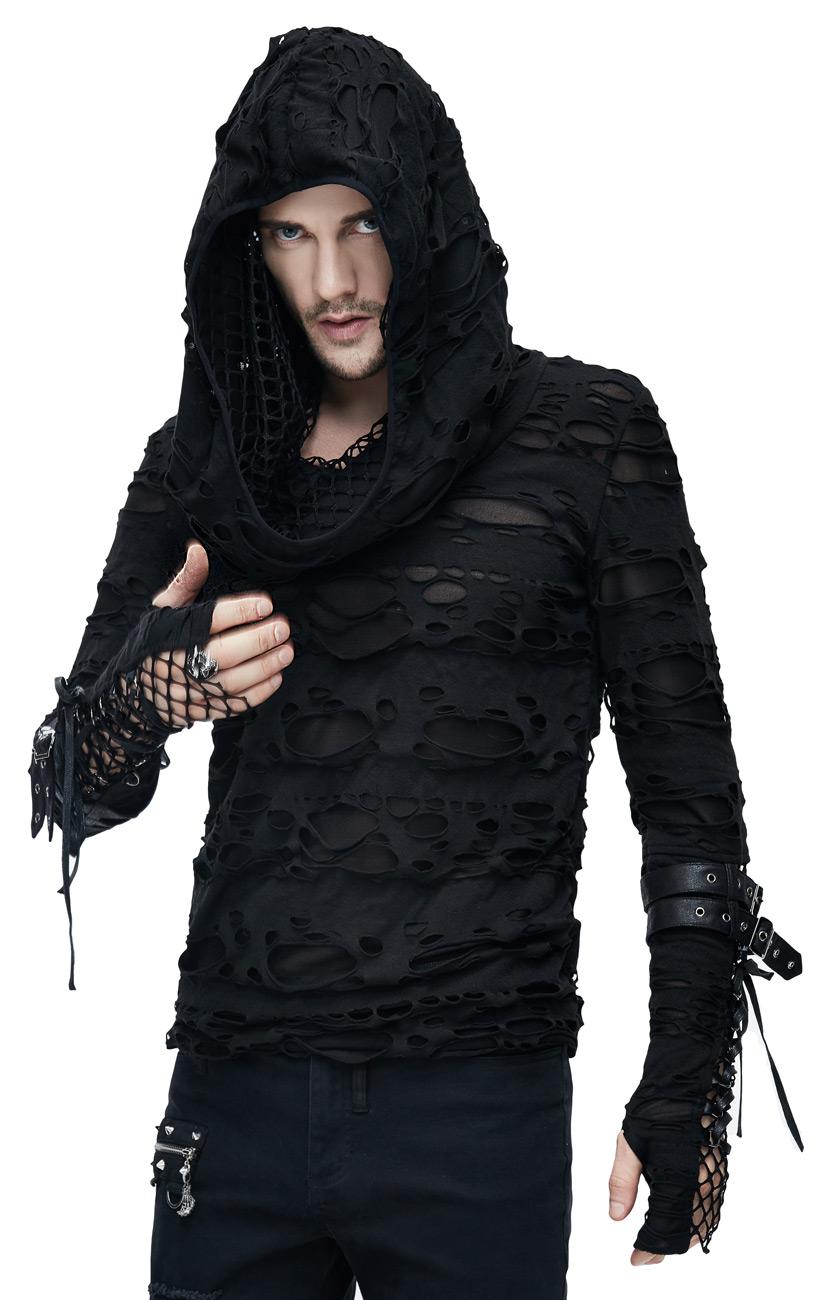 top noir homme manches longues et capuche trous r silles et lani res punk goth grunge. Black Bedroom Furniture Sets. Home Design Ideas