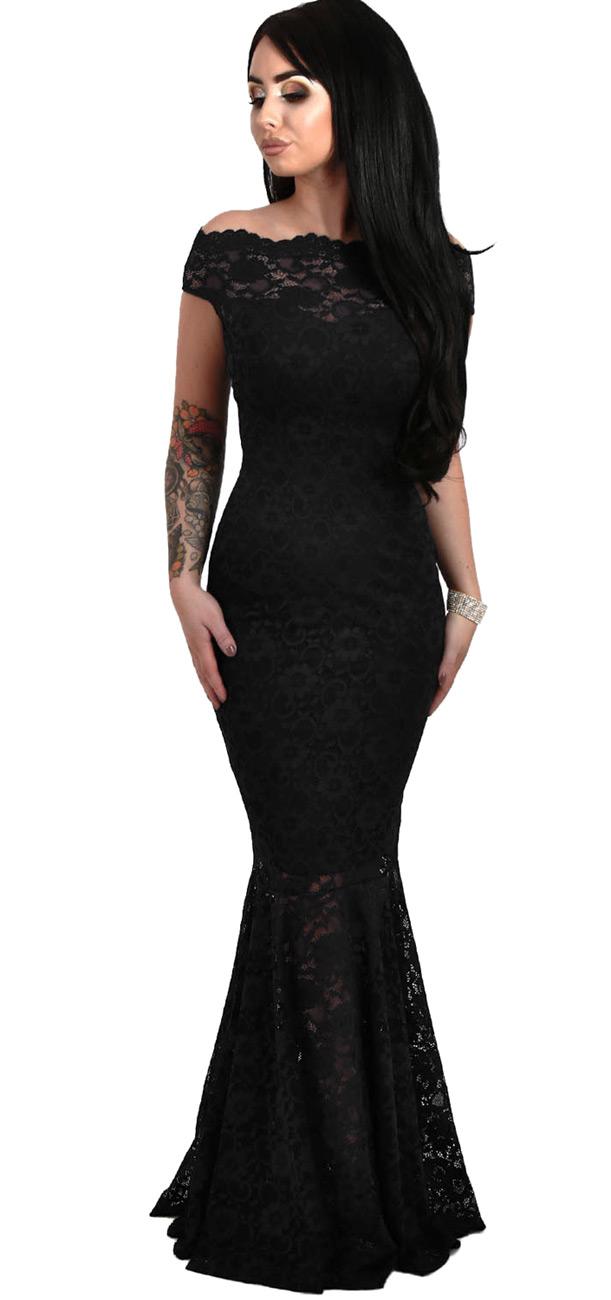 027ab8997740 Longue robe noire en dentelle avec col Bardot et jupe en queue de poisson
