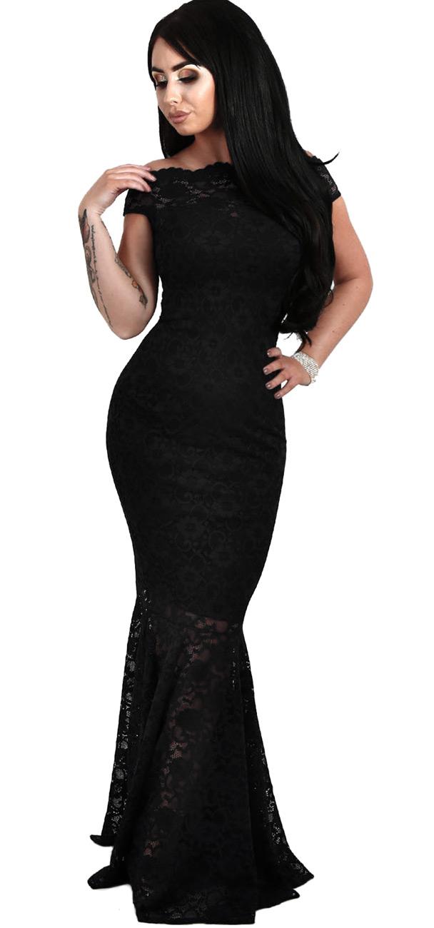 longue robe noire en dentelle avec col bardot et jupe en queue de poisson gothique japan. Black Bedroom Furniture Sets. Home Design Ideas