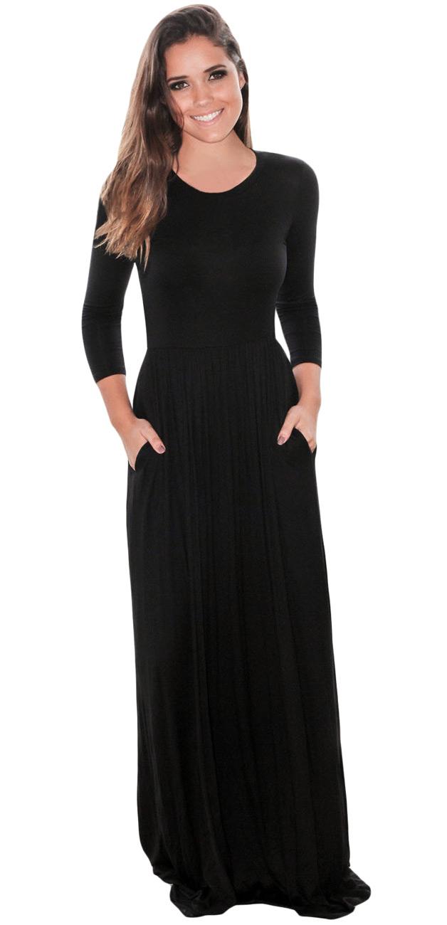 Longue Robe Noire 224 Manches Trois Quart Simple Stretch