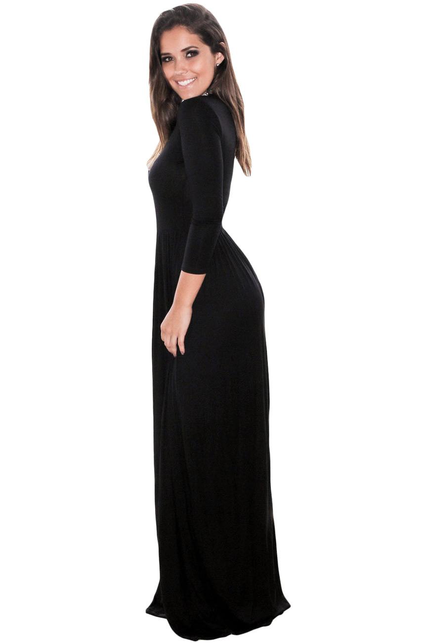 c27a3fd5f7e8 Longue robe noire à manches trois quart simple stretch
