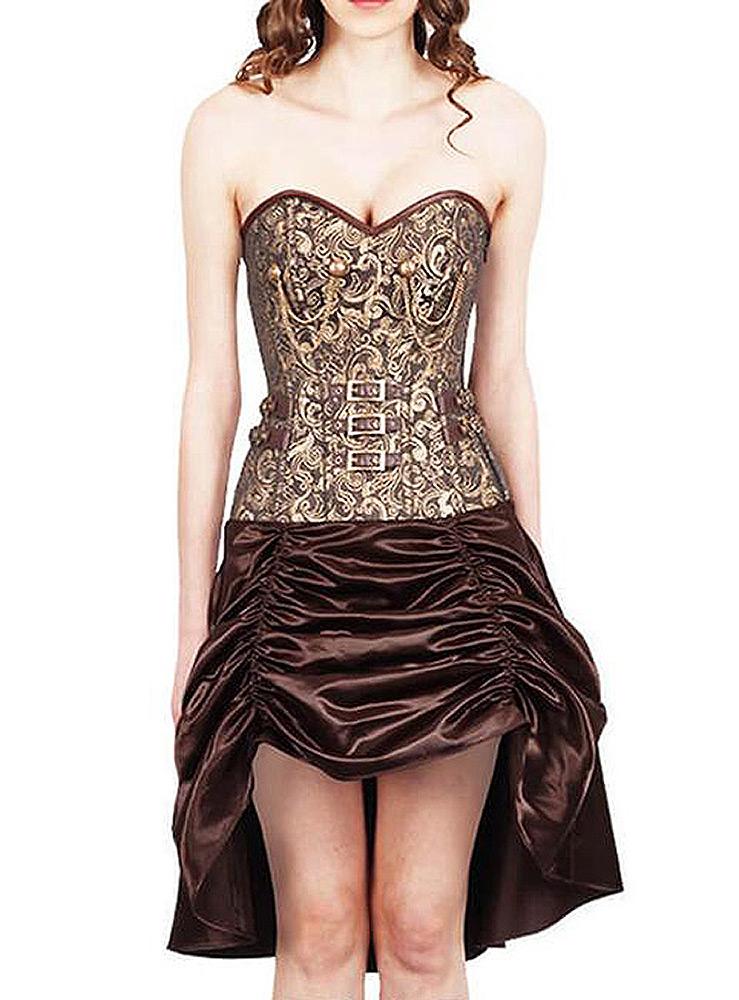 Robe corset steampunk brown et doré avec sangles, chaines et jupe satin plissée