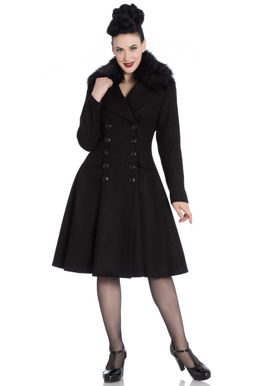 manteau noir chaud coupe retro vintage avec col fausse. Black Bedroom Furniture Sets. Home Design Ideas
