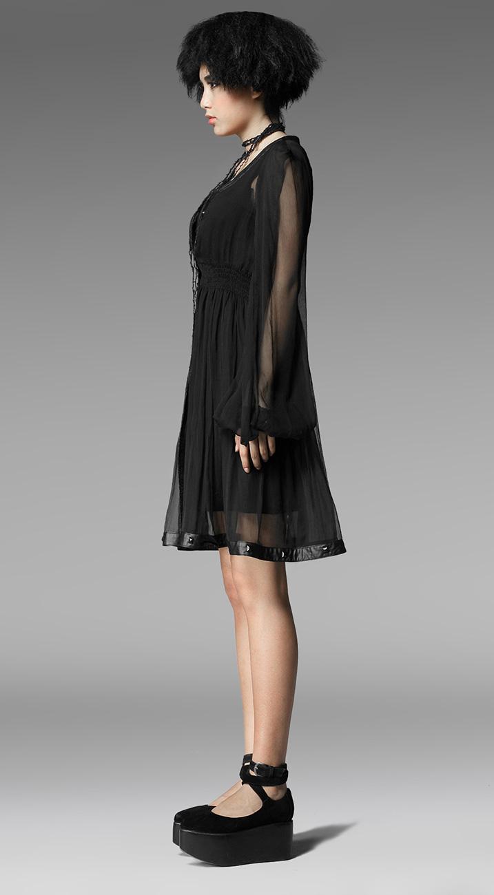 Kleid leicht transparent schwarz, Langarm Puff- geöffnet Punk Rave ...