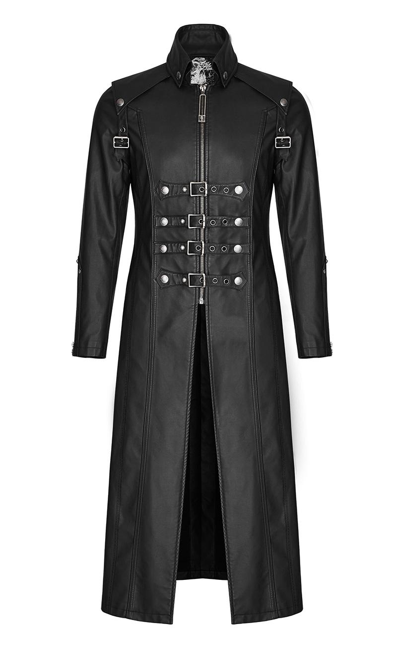long manteau classe noir imitation cuir pour homme avec sangles punk rave japan attitude. Black Bedroom Furniture Sets. Home Design Ideas