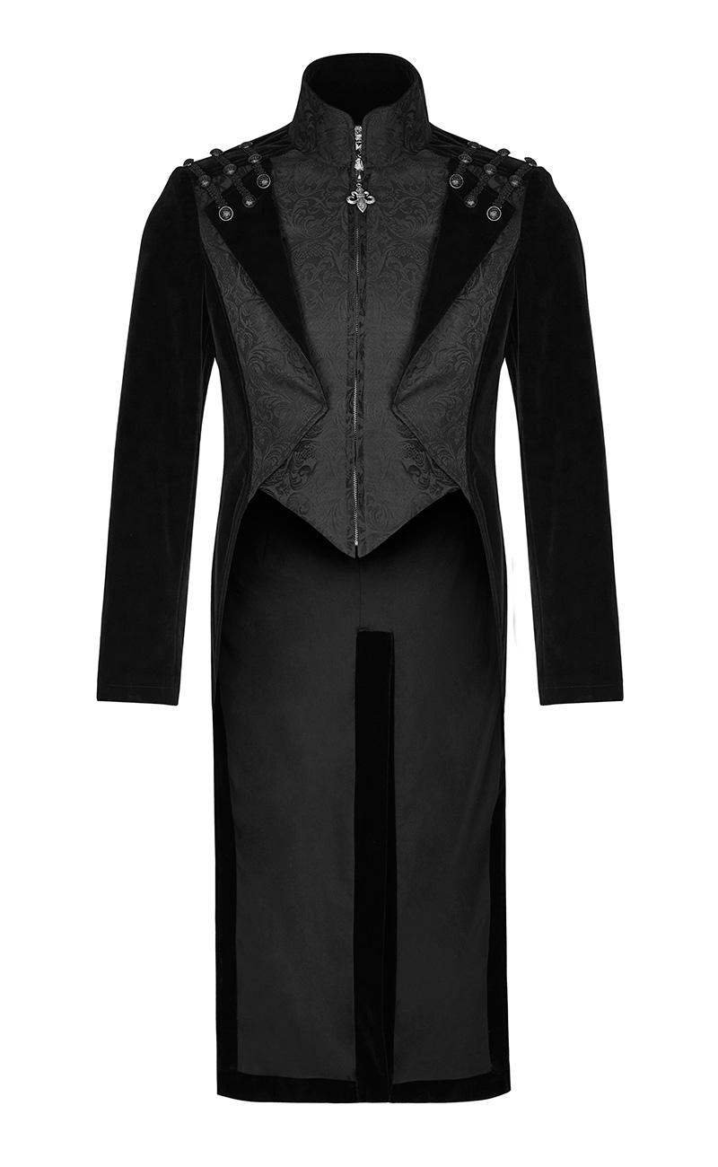 long manteau noir en velours pour homme avec boutons et. Black Bedroom Furniture Sets. Home Design Ideas