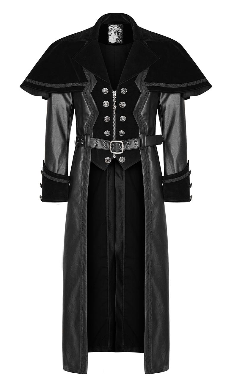 long manteau noir en velours pour homme avec petite cape et ceinture gothique punk rave japan. Black Bedroom Furniture Sets. Home Design Ideas
