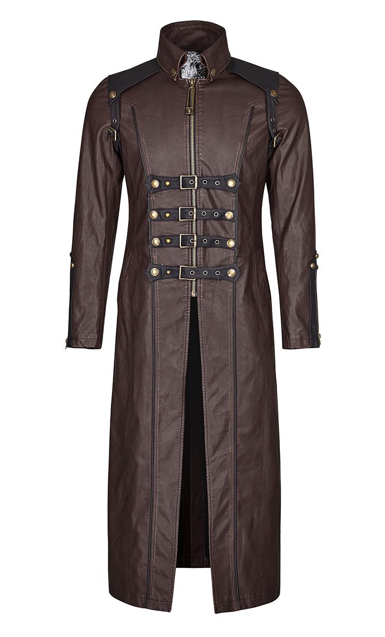 Manteau cuir long gothique lolita steampunk vintage cyber rivet corset PunkRave