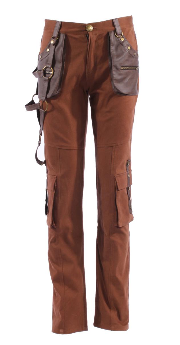 pantalon marron pour homme avec sangles et poches imitation cuir steampunk rqbl japan. Black Bedroom Furniture Sets. Home Design Ideas