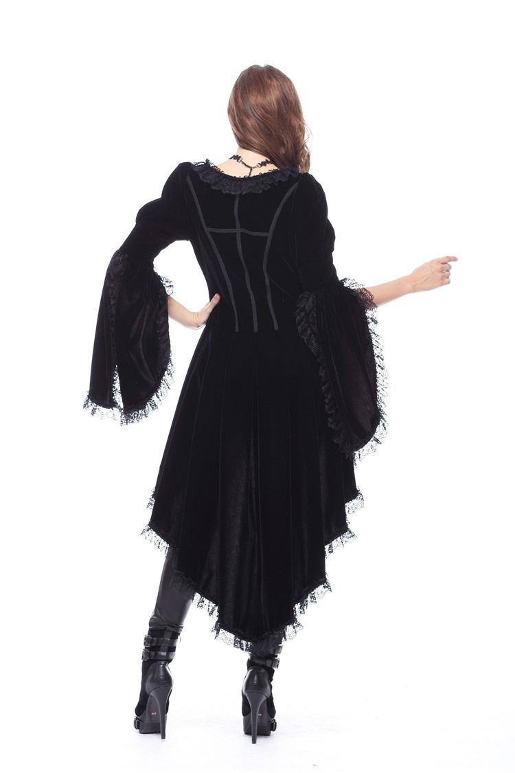 Veste robe noire en velours avec dentelle et fermeture éclair ... e06daab55b4