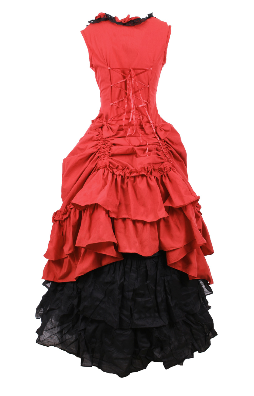 424e7c6c94e15 Robe longue rouge et noire avec noeuds, dentelle et froufrous, western  aristocrate