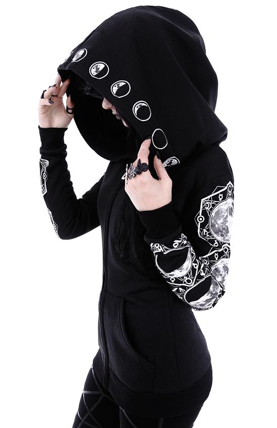 O Grande Capuche À Motifs Lunaires Sweat Noire Restyle Veste Gothique Avec qwzHTH