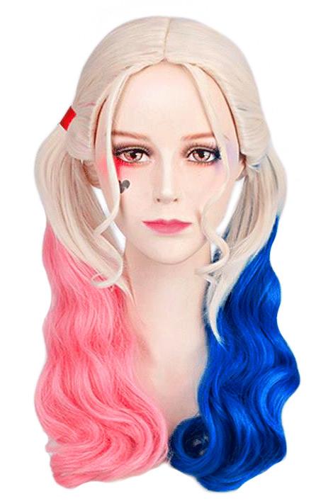 Perruque blonde à couettes roses et bleues,