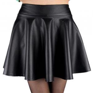 jupe noire courte imitation cuir taille haute nugoth rock japan attitude vetjup261. Black Bedroom Furniture Sets. Home Design Ideas