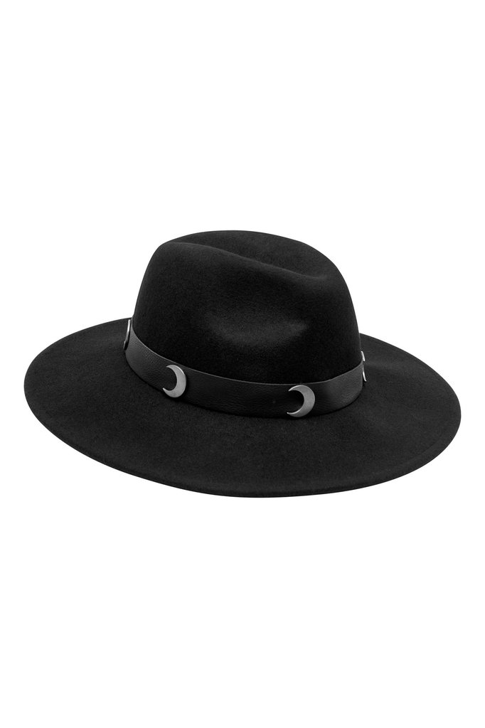 Black Eternal Eclipse Fedora Hat with moon 331b63e1369