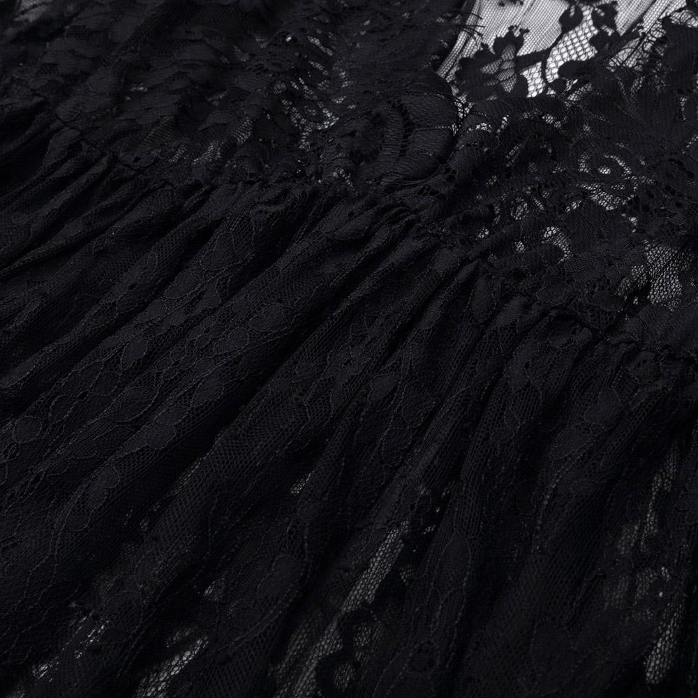 e8c2880f8cdd Longue robe en dentelle noire transparente