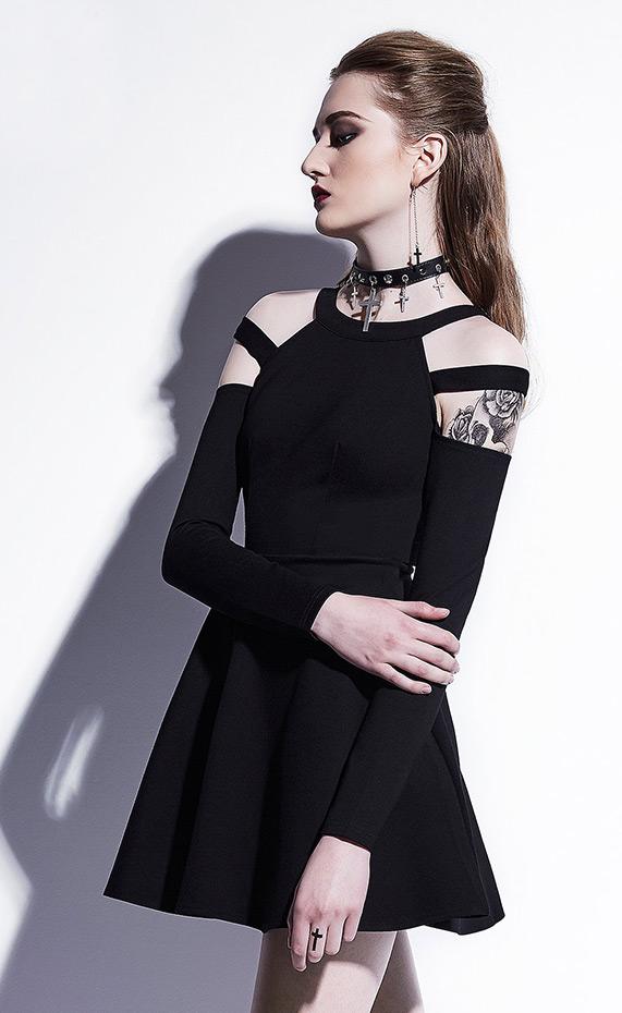dfbb84a3371d1 Robe noire courte avec manches, épaules nues et sangles, nugoth casual goth  Size Chart. Photos de clients