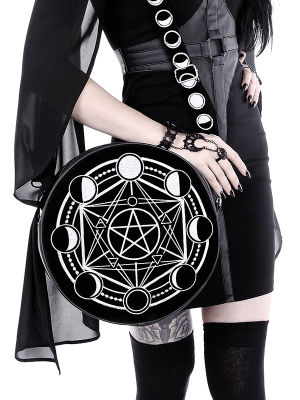 Got Pentagramme En Noir Rond La Velours Sac Et Phases Avec De Restyle Lune xPBnF
