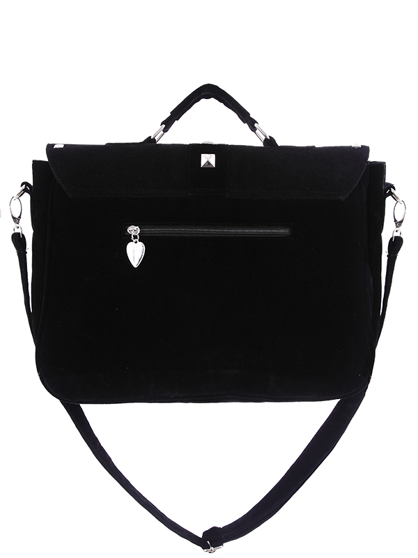 0d3489753 Black velvet satchel bag with white serpents embroidered and rivets, Gothic  Restyle