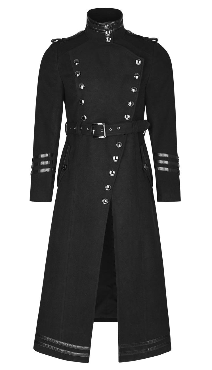 Bandes Noir À Long Homme Gothique Boutons Avec Manteau Militaire 5AtAIzxwq
