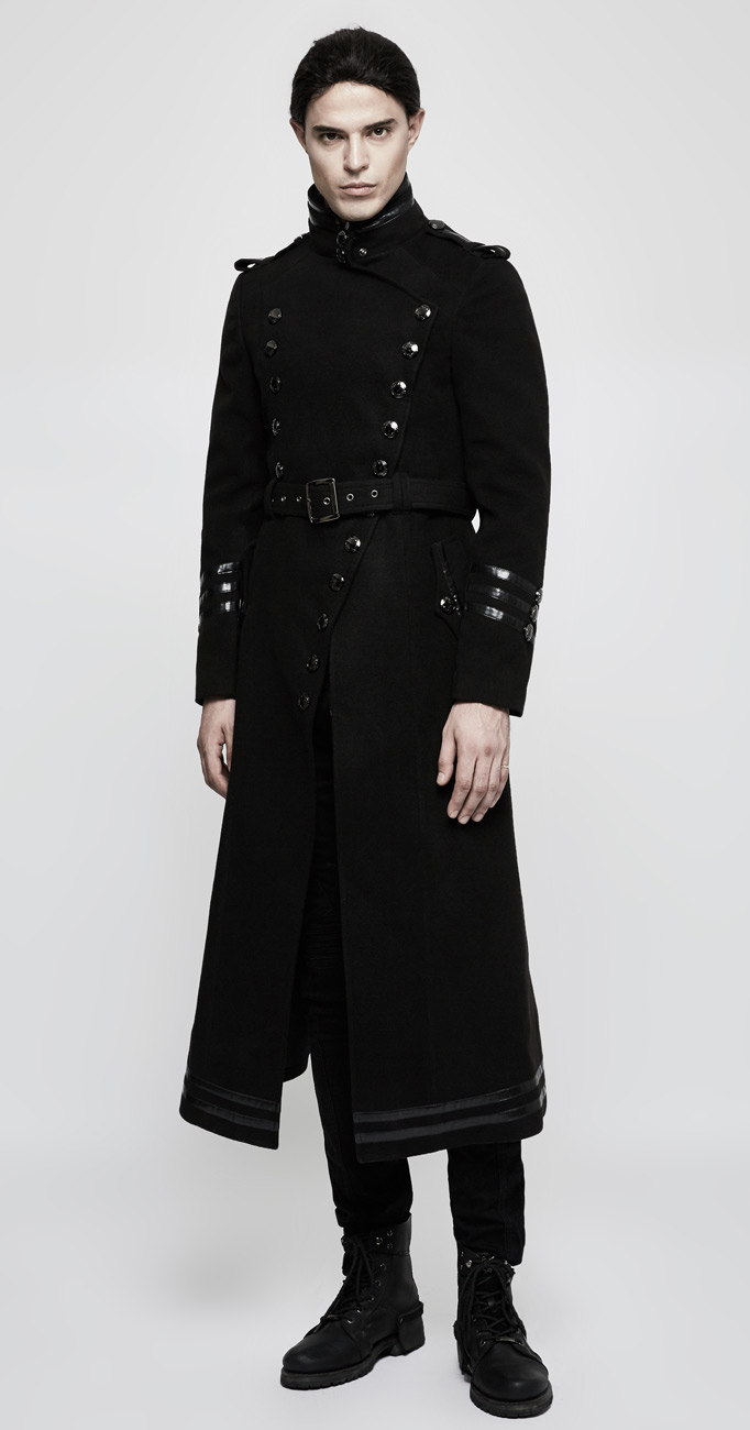 Boutons Bandes Bau6wxf Militaire Avec Manteau Noir Homme Long À Gothique rhdxBsCQt