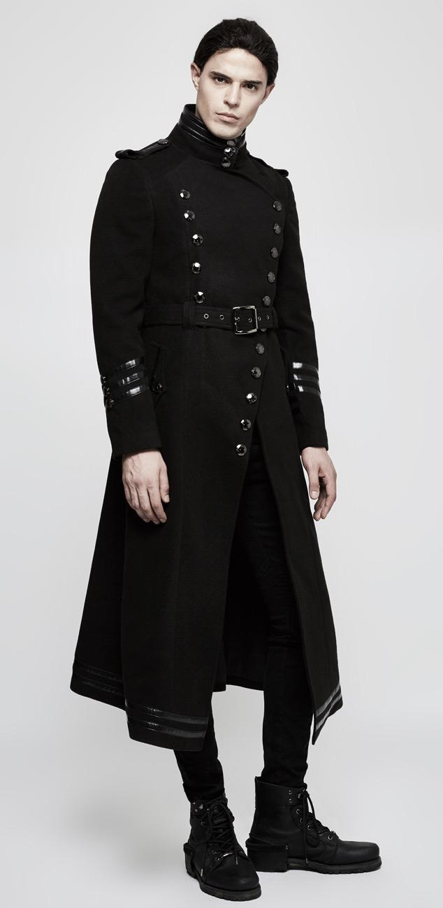 long manteau noir homme bandes avec boutons gothique militaire punk rave ebay. Black Bedroom Furniture Sets. Home Design Ideas