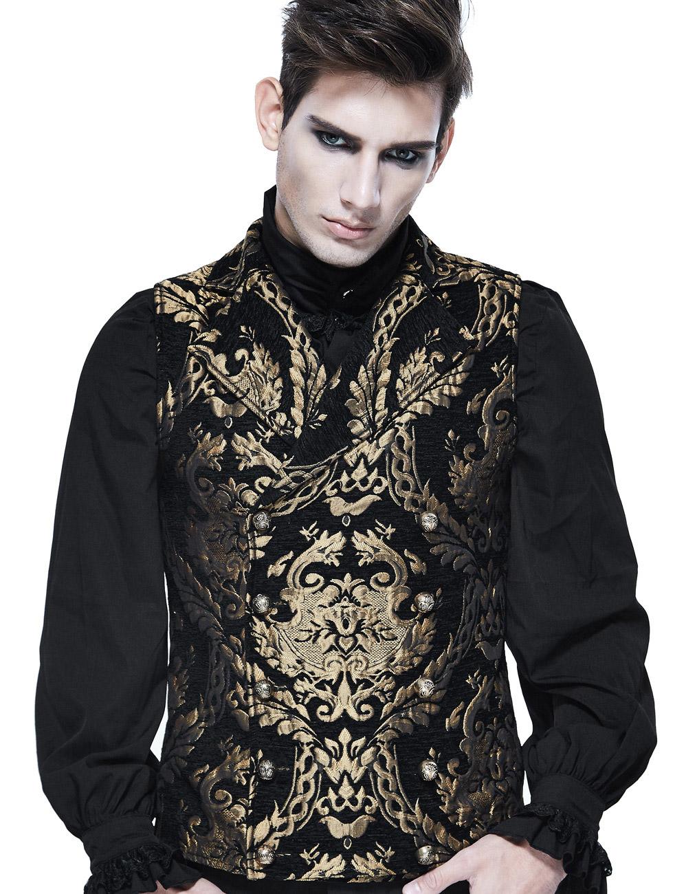 Veste homme sans manches noire avec motifs baroques dorés brodés, c Devil Fashio