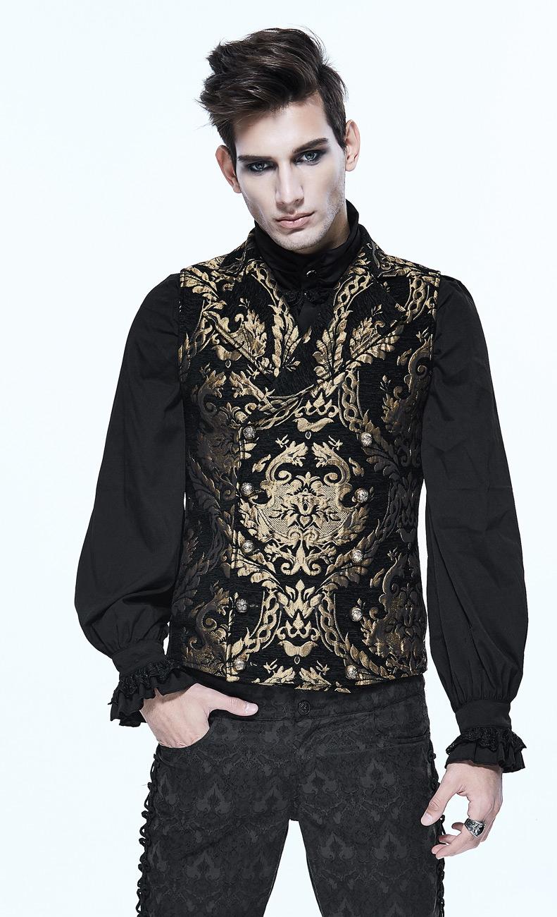 Veste homme sans manches noire avec motifs baroques dorés brodés, chic  aristocrate bf992f9ea56f