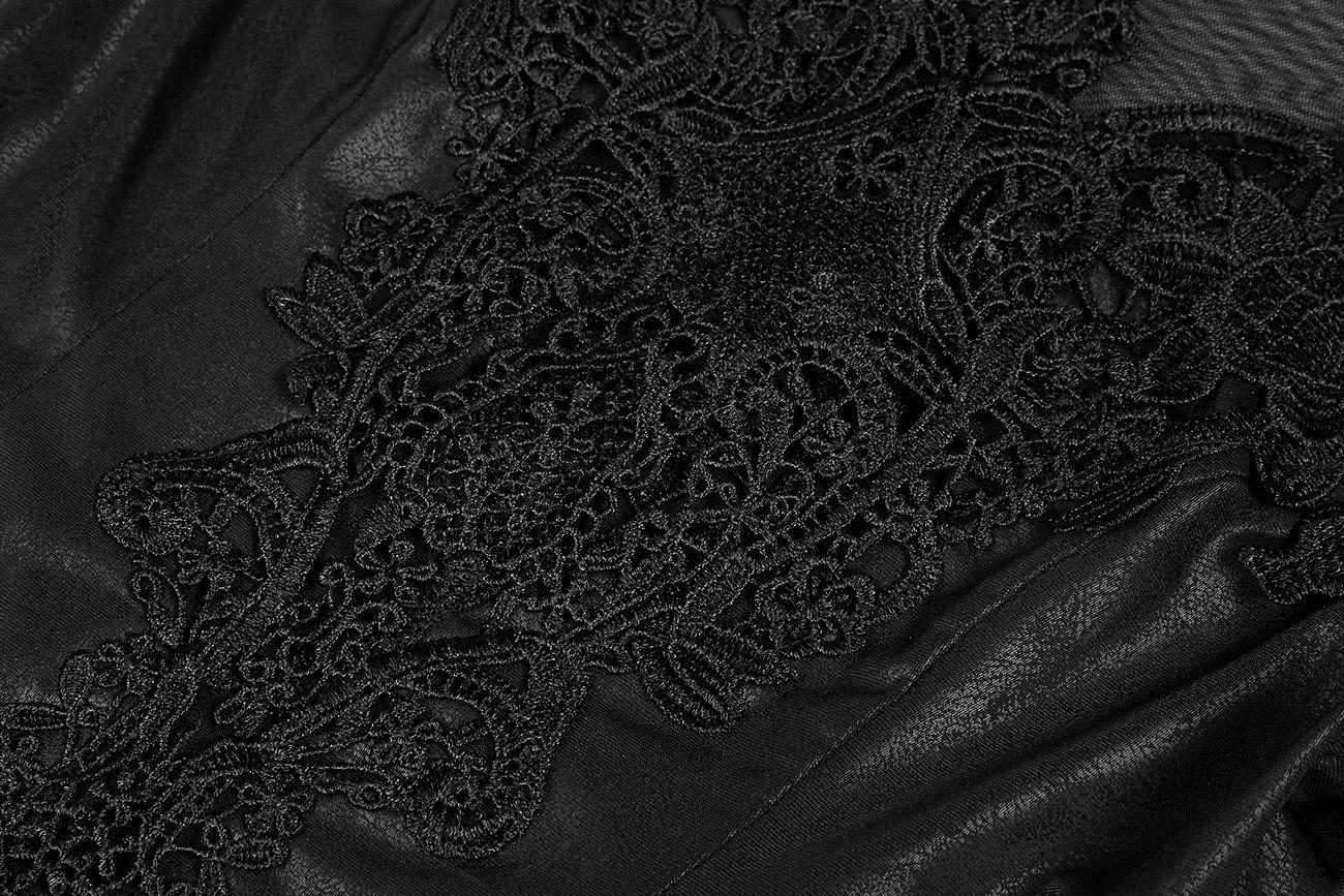 927e386fe13a0 Longue robe noire faux cuir avec longues manches, fentes et broderies, Punk  Rave