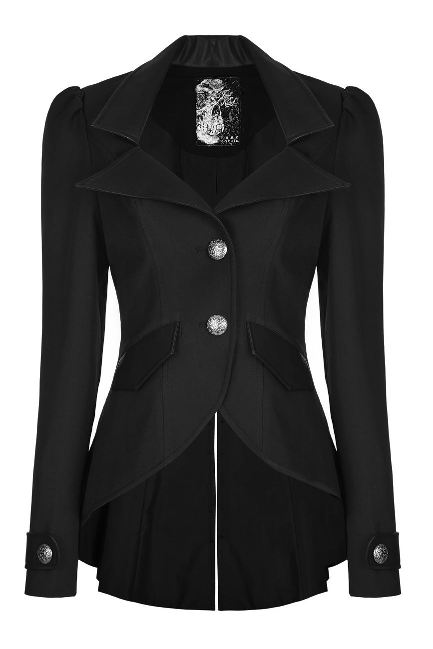 Veste noire cintrée col faux cuir, boutons anciens, gothique militaire, Punk Rave Référence : PUNKR0411