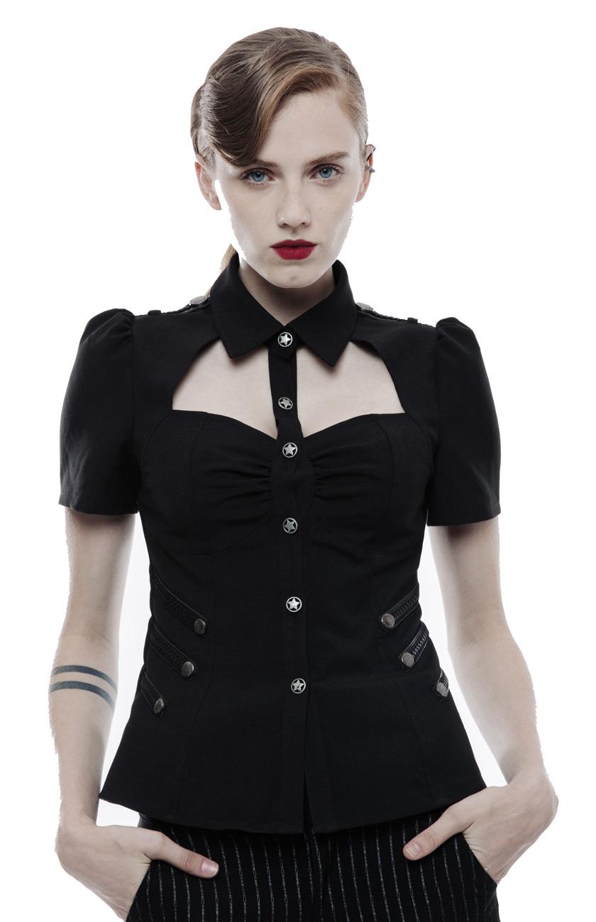 Chemise negroe avec col ouverde sur la poitrine,  gothique militaire,  Punk Rave  grandes ofertas