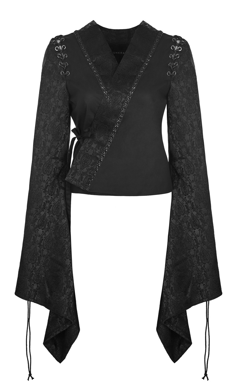 Giacca maniche allacciatura e lunghe con rave punk giapponese nera gotico Kimono OOqfxUZ