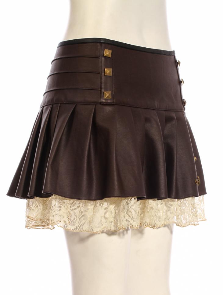 jupe marron imitation cuir avec dentelle beige rivets et rouages bronze steampunk rqbl. Black Bedroom Furniture Sets. Home Design Ideas