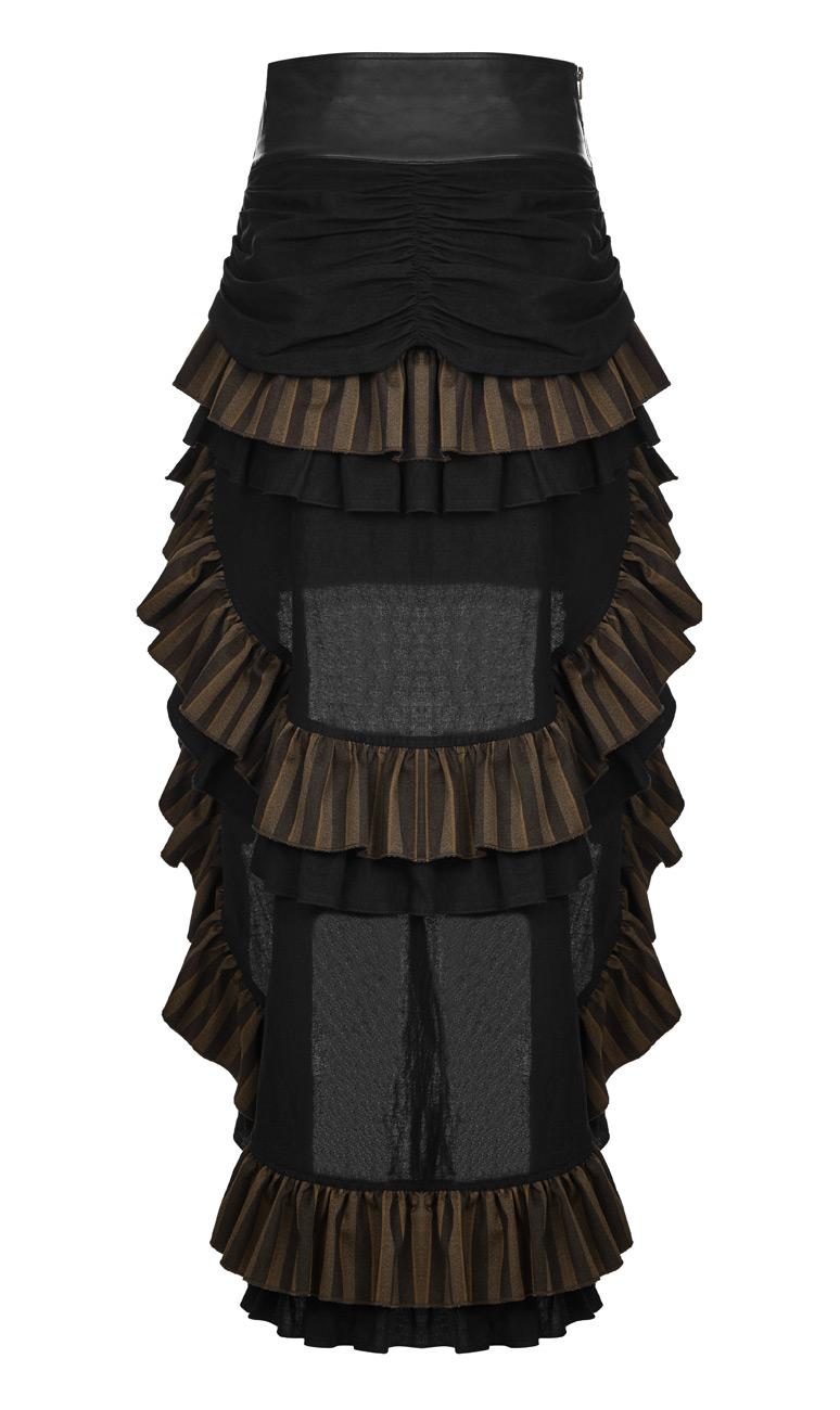 Jupe marron et noire rayée, grosse ceinture décorative, steampunk w ... c3ac71bbc11