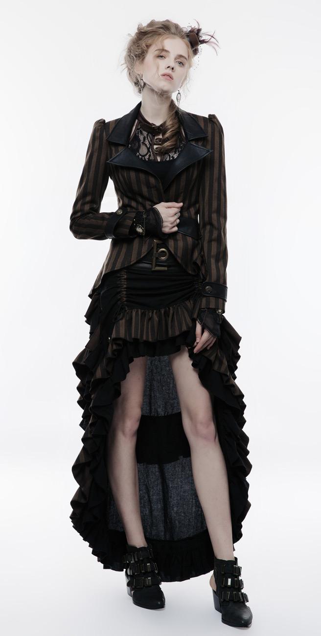 cintura W Steampunk Rave Punk nera marrone Gonna e a decorativa grande righe xnZp4wC