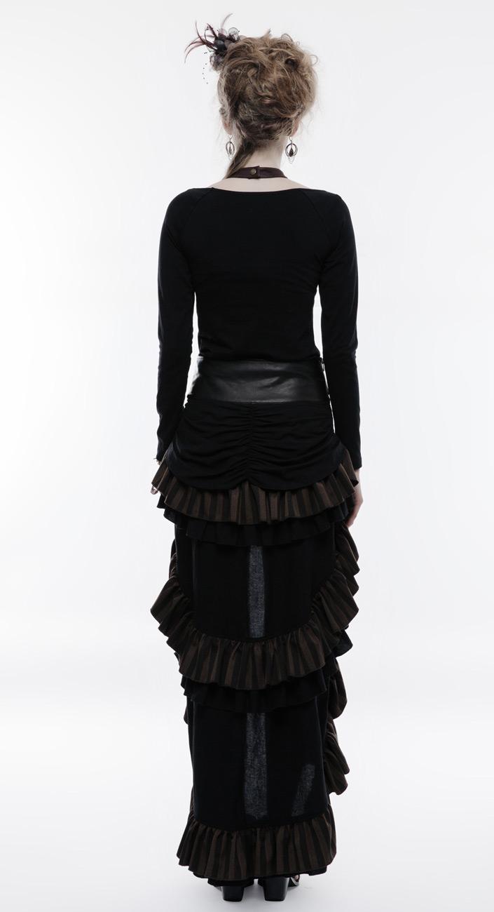Jupe marron et noire rayée, grosse ceinture décorative, steampunk western,  Punk Rave d58e998001a