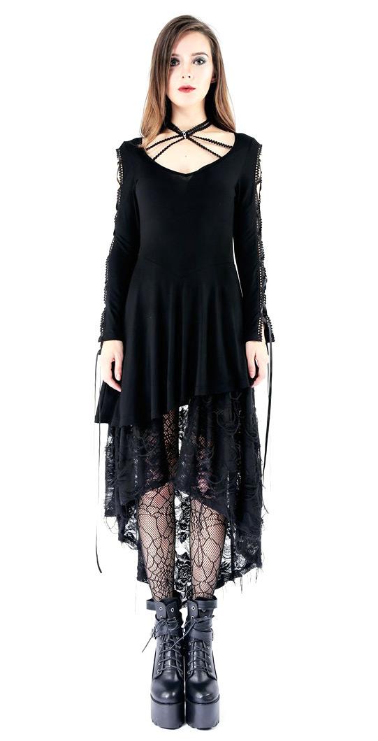 2494144d3c4 Robe courte noire avec longue dentelle fleurie et laçages