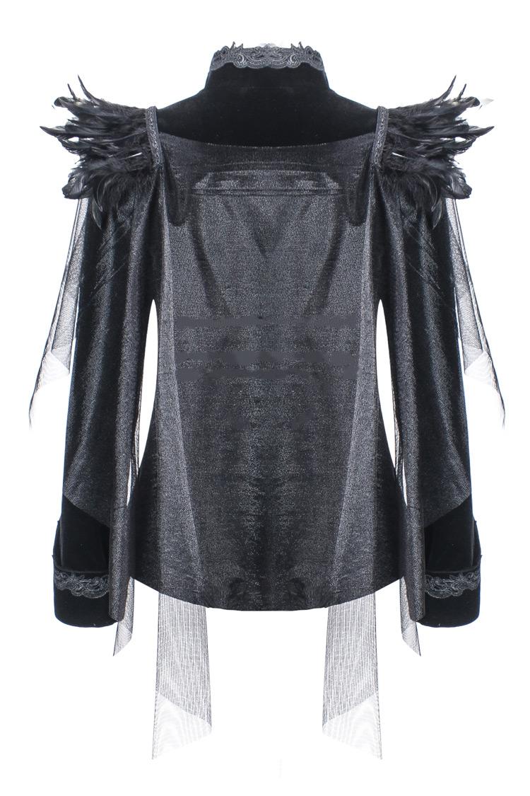 Veste Noir En Darkinlove Ari Gothique Avec Velours Voiles Broderie Et Plumes rqrwZ