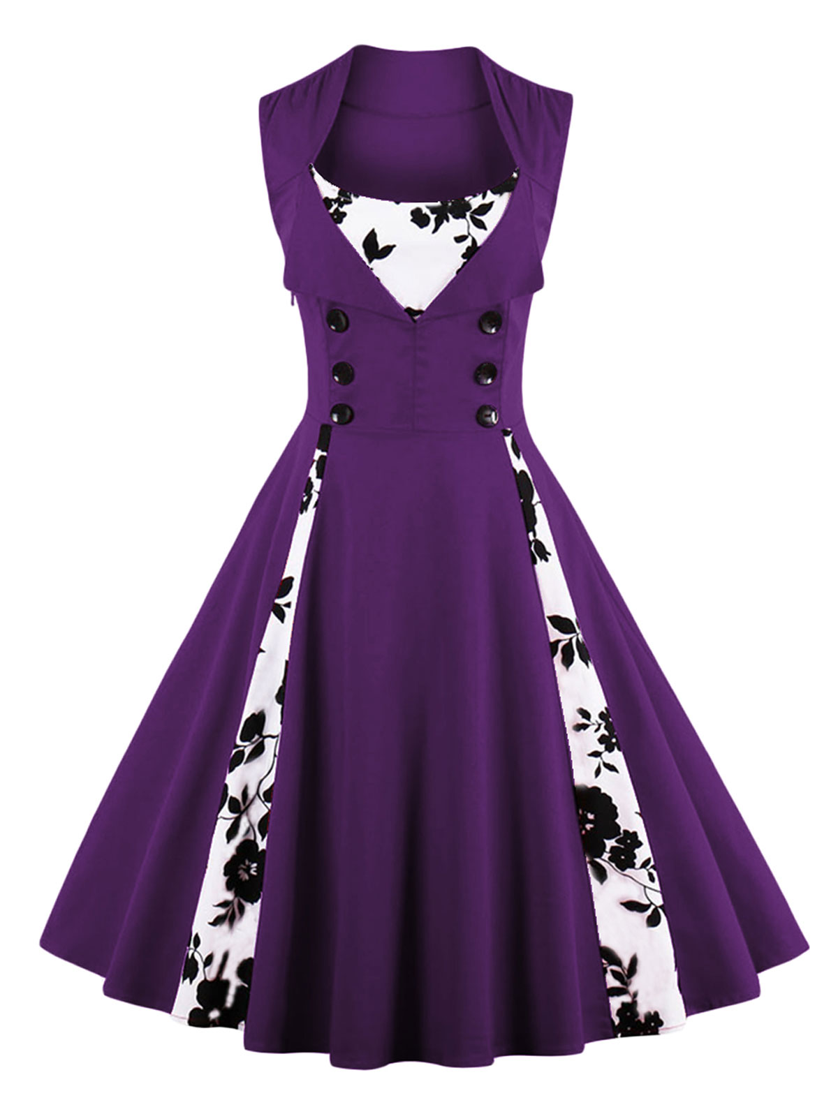 Robe Fleuris Noirs Avec Partie Violette À BoutonsÉlégant Motifs Rétro Blanches RéférenceVetrob304 Et 7gvYf6mIby