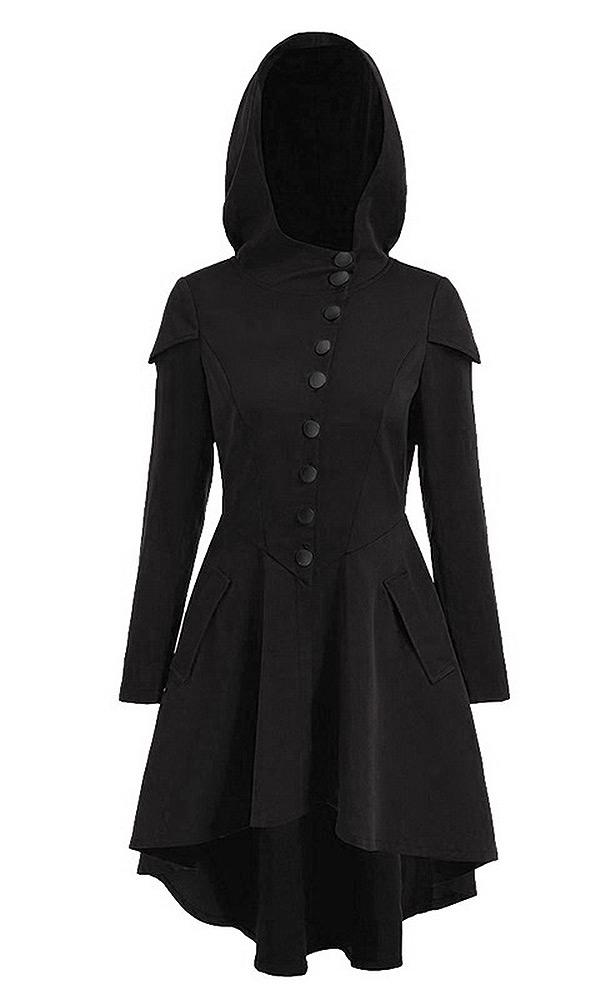 Veste blacke légère à capuche avec boutons et épaulette, gothique witch