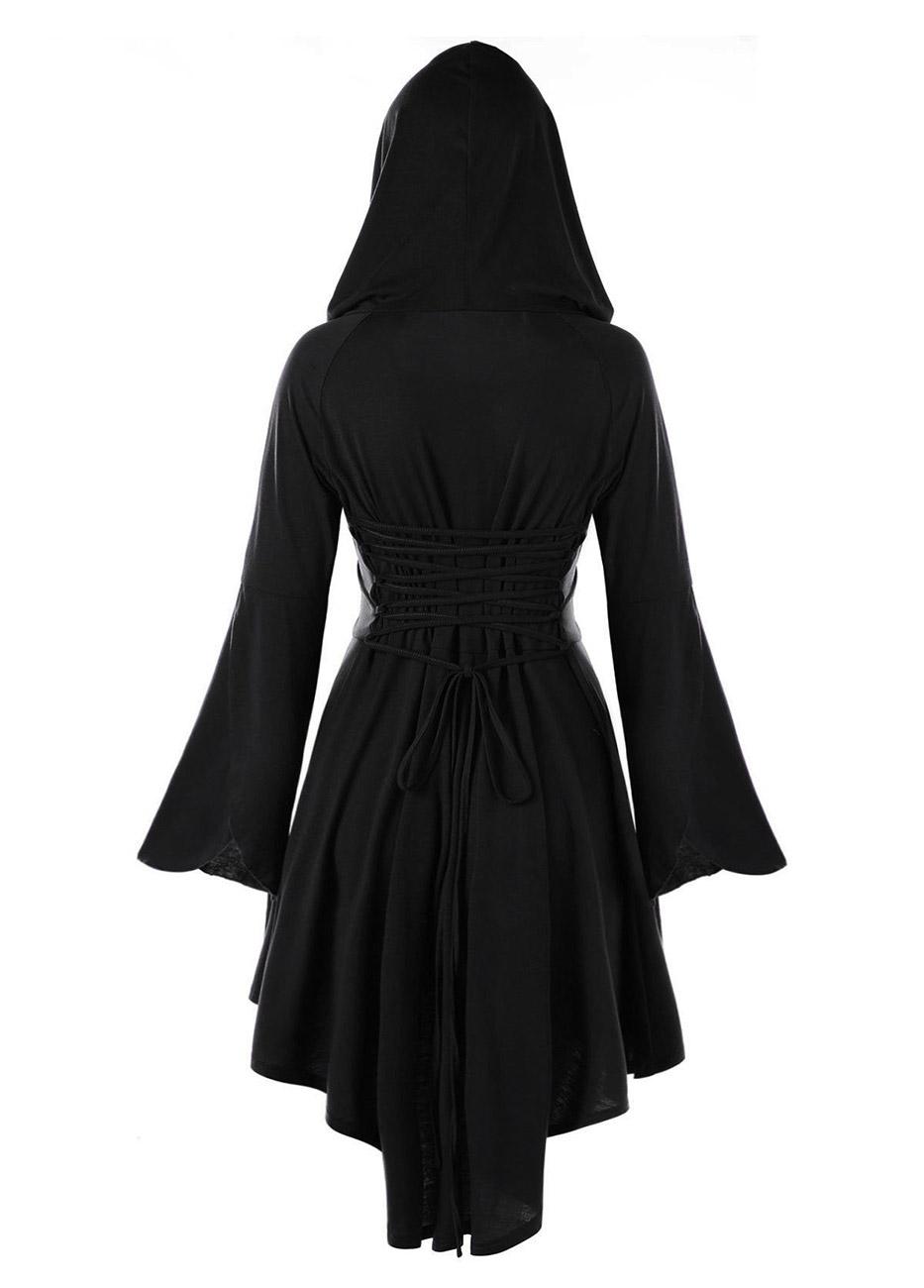 Robe noire avec manches longues évasées et capuche e84d887153a